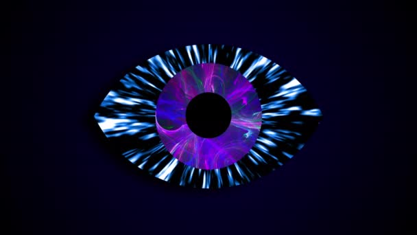 Abstraktní technologické oči s vesmírem v žáků, vykreslování 3d objektů