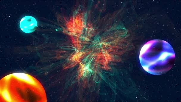 Computer generated colorful cosmic landscape: spiral nebula, planets and galaxies on a starry background. 3D rendering