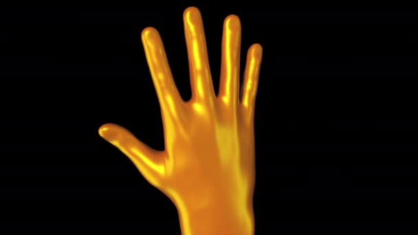 3d rendering of demonstration of the golden palm of Midas on dark background. Streamlined brush shape turn around on the screen, computer generated