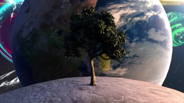 Fa a Holdon a Föld bolygója előtt, égitestek és csillagok hátterében. A számítógép futurisztikus összetételt generált. 3D-s renderelő elemek a kép által nyújtott NASA