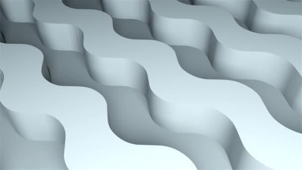Povrch s hlasitými vlnitými pruhy, vygenerovaný počítačem. 3D vykreslování izometrického pozadí. Barevné hadí formy