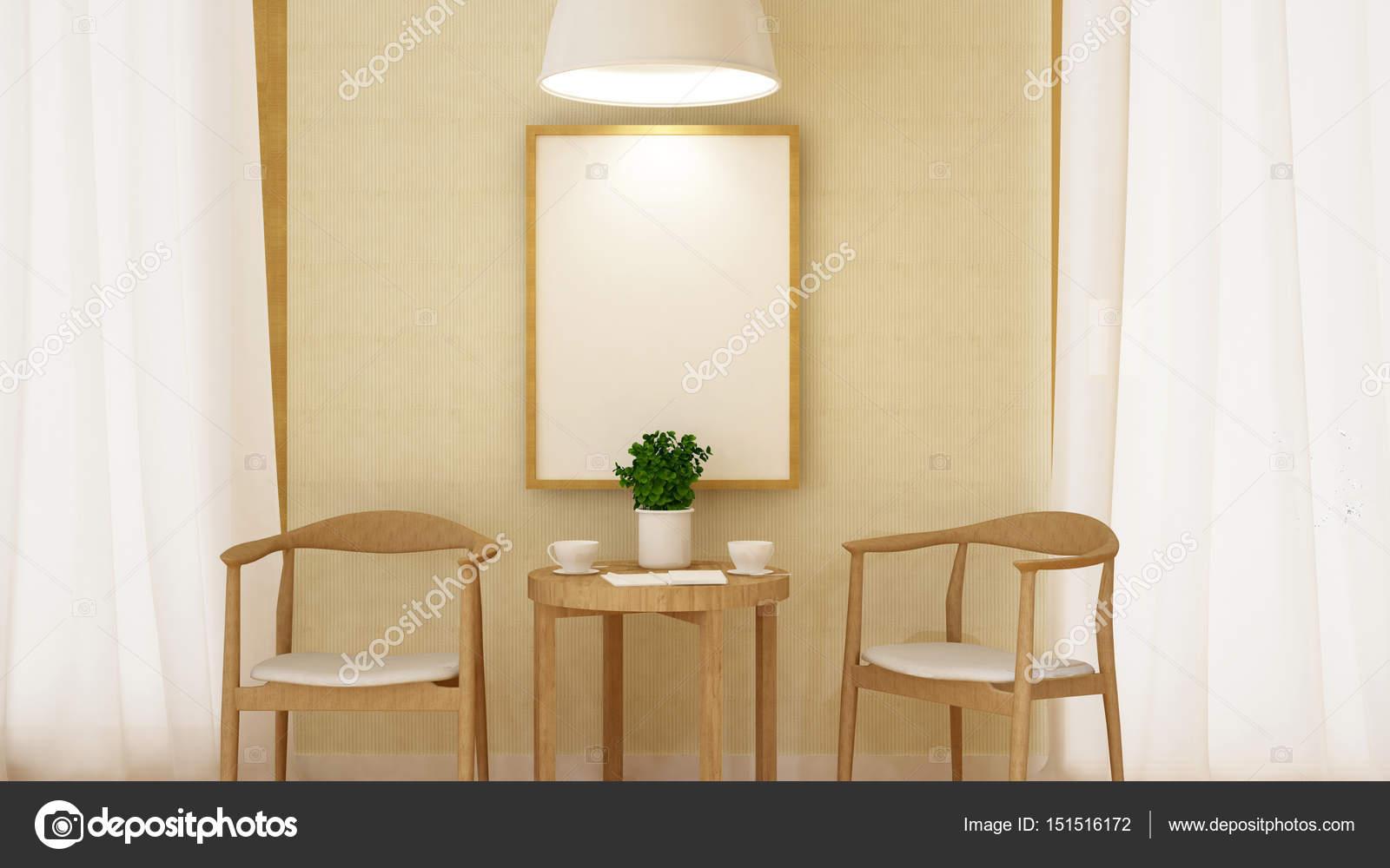 Kaffeepause mit Rahmen und Pendent Lamp - 3d Rendering — Stockfoto ...