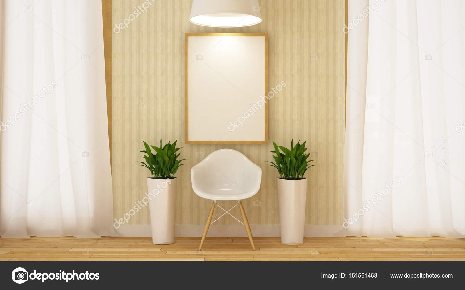 weißen Holzstuhl mit Rahmen und Blumentopf-3d Rendering — Stockfoto ...