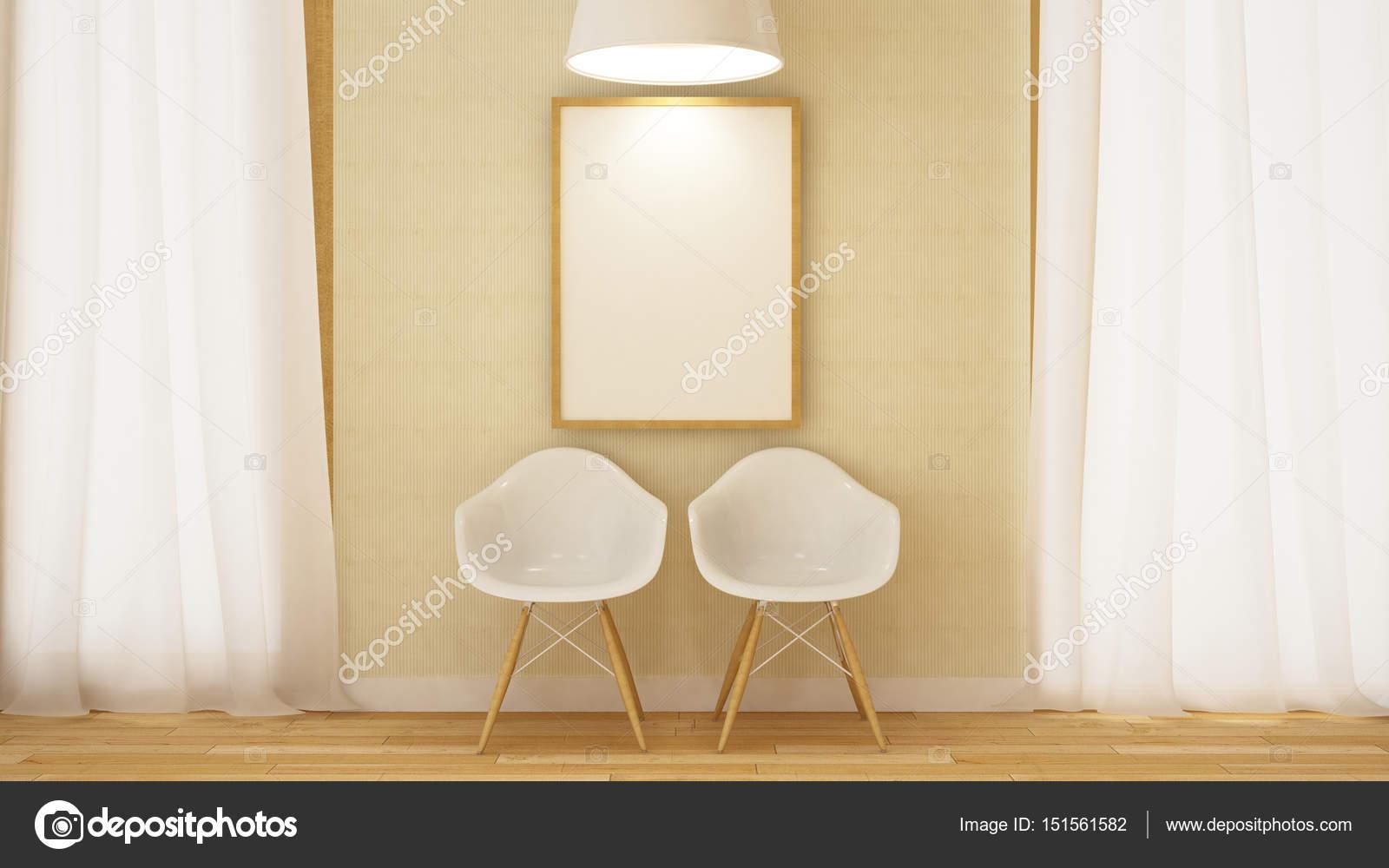 weißen Holzstuhl mit Rahmen und pendent Lamp-3d Rendering ...
