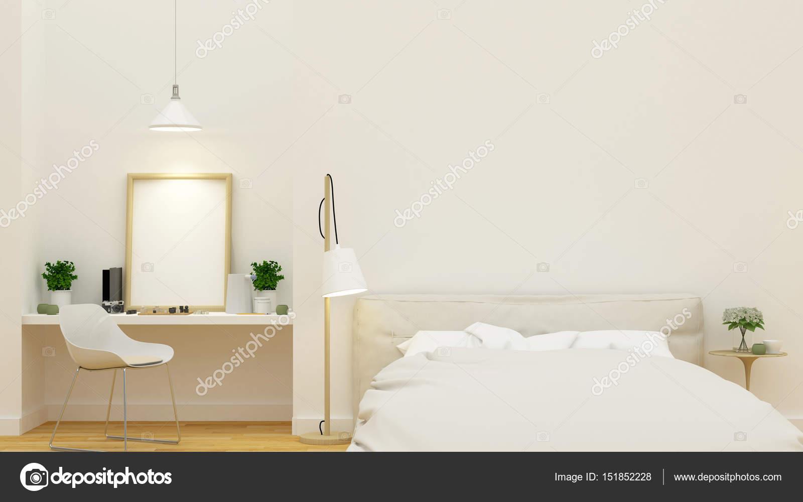 Slaapkamer en werkruimte schone ontwerp - 3d Rendering — Stockfoto ...