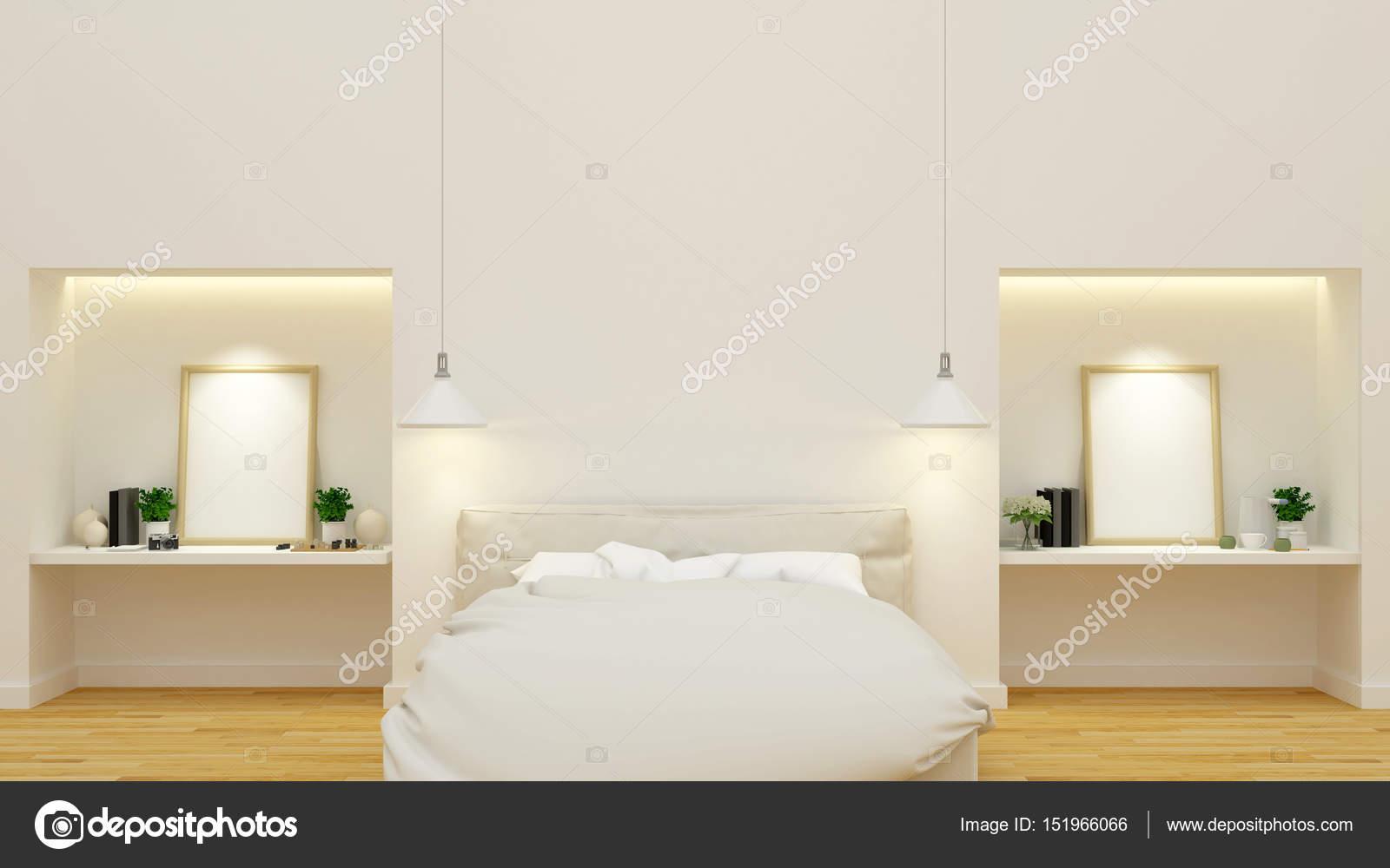 slaapkamer en werkruimte schone ontwerp 3d rendering stockfoto