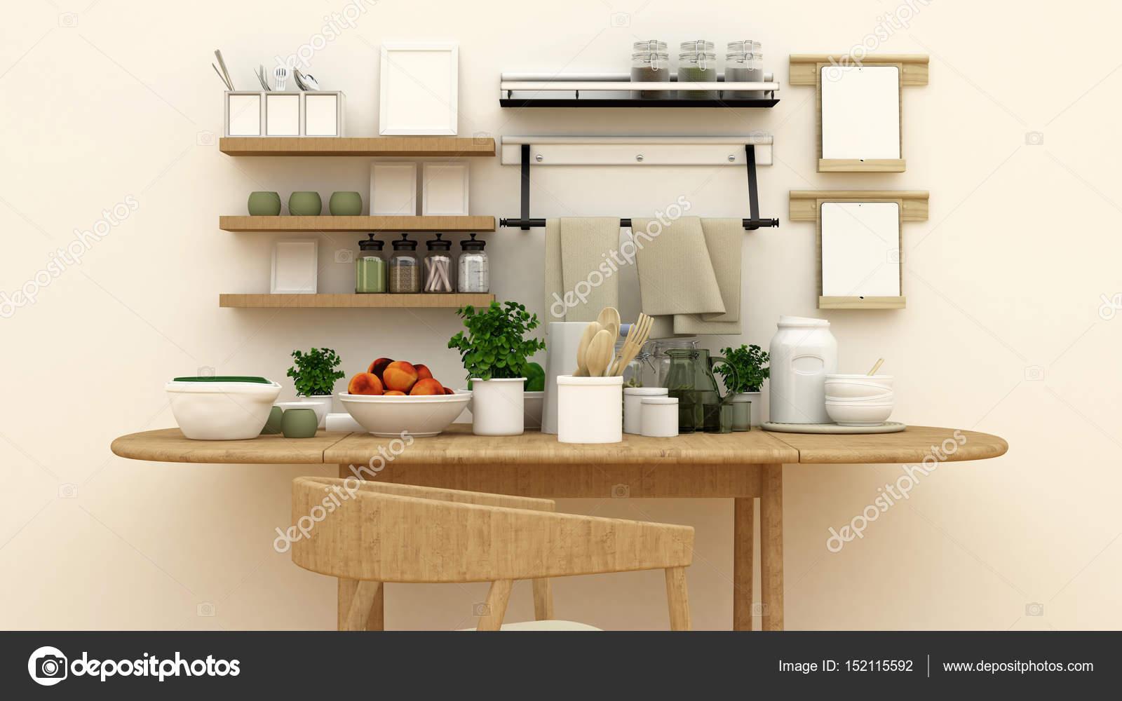 set cucina in dispensa per opera d\'arte - 3d rendering — Foto Stock ...