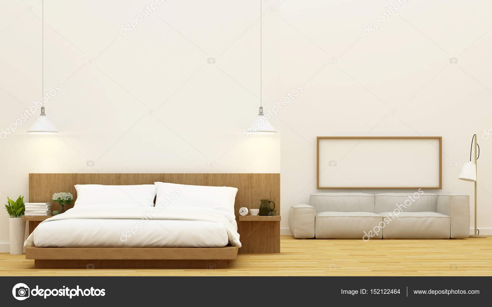 Slaapkamer en woonkamer schone ontwerp d rendering u stockfoto
