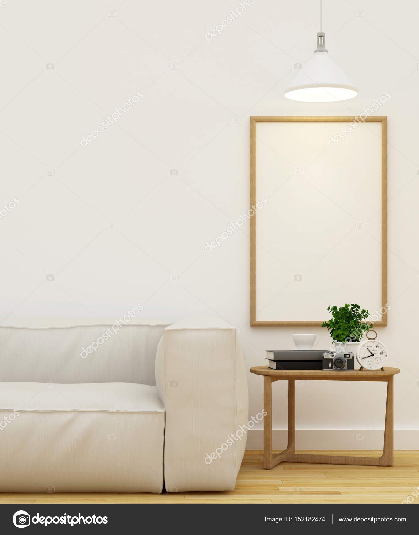 Sala de estar y el marco de arte limpian diseño 3d Rendering — Foto ...