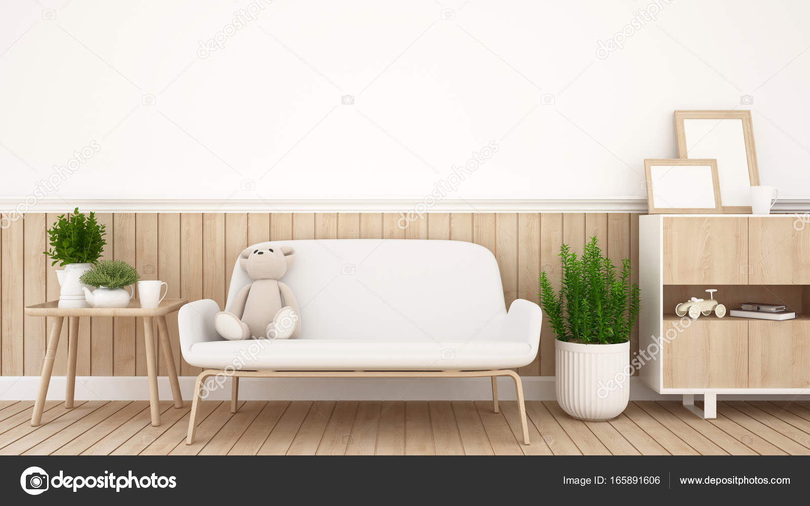teddy bear on sofa in living room or coffee shop - 3D Rendering ...
