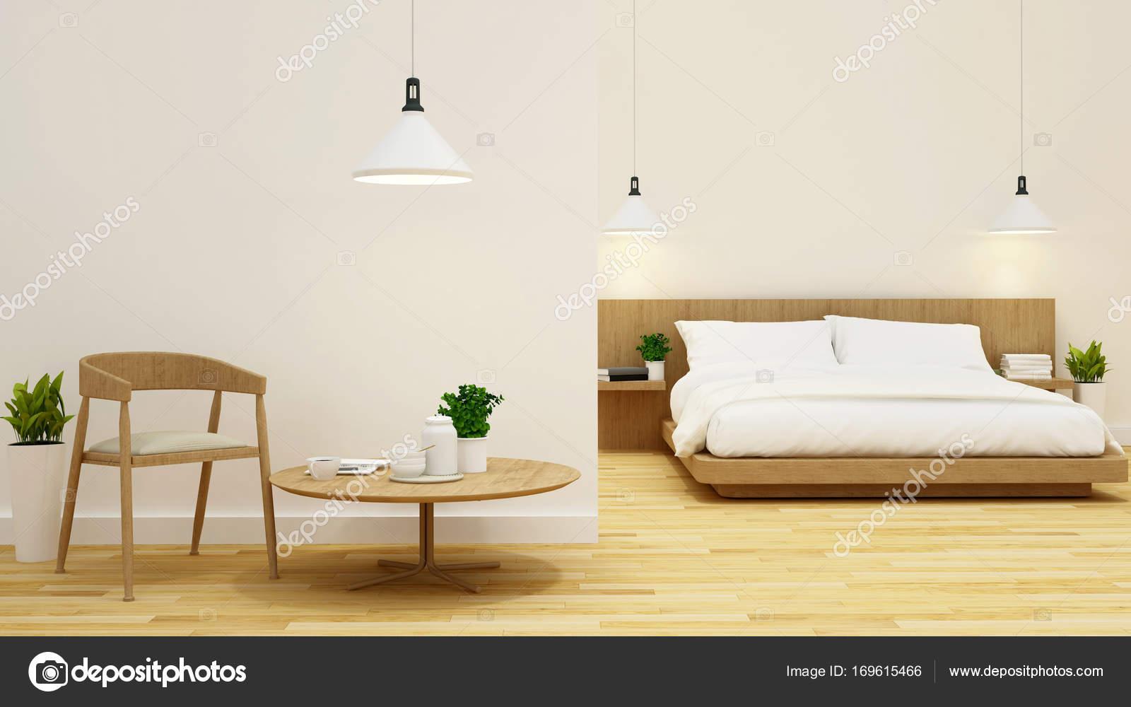 slaapkamer en woonkamer schoon ontwerp-3d rendering — Stockfoto ...