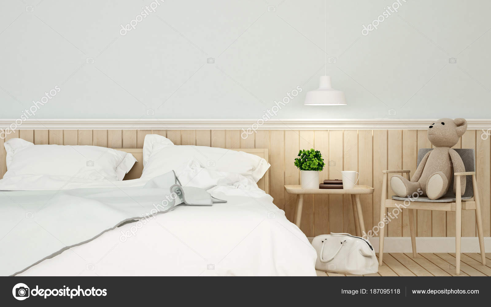 Camera da letto con ragazzo spazio e parete decorazione in ...