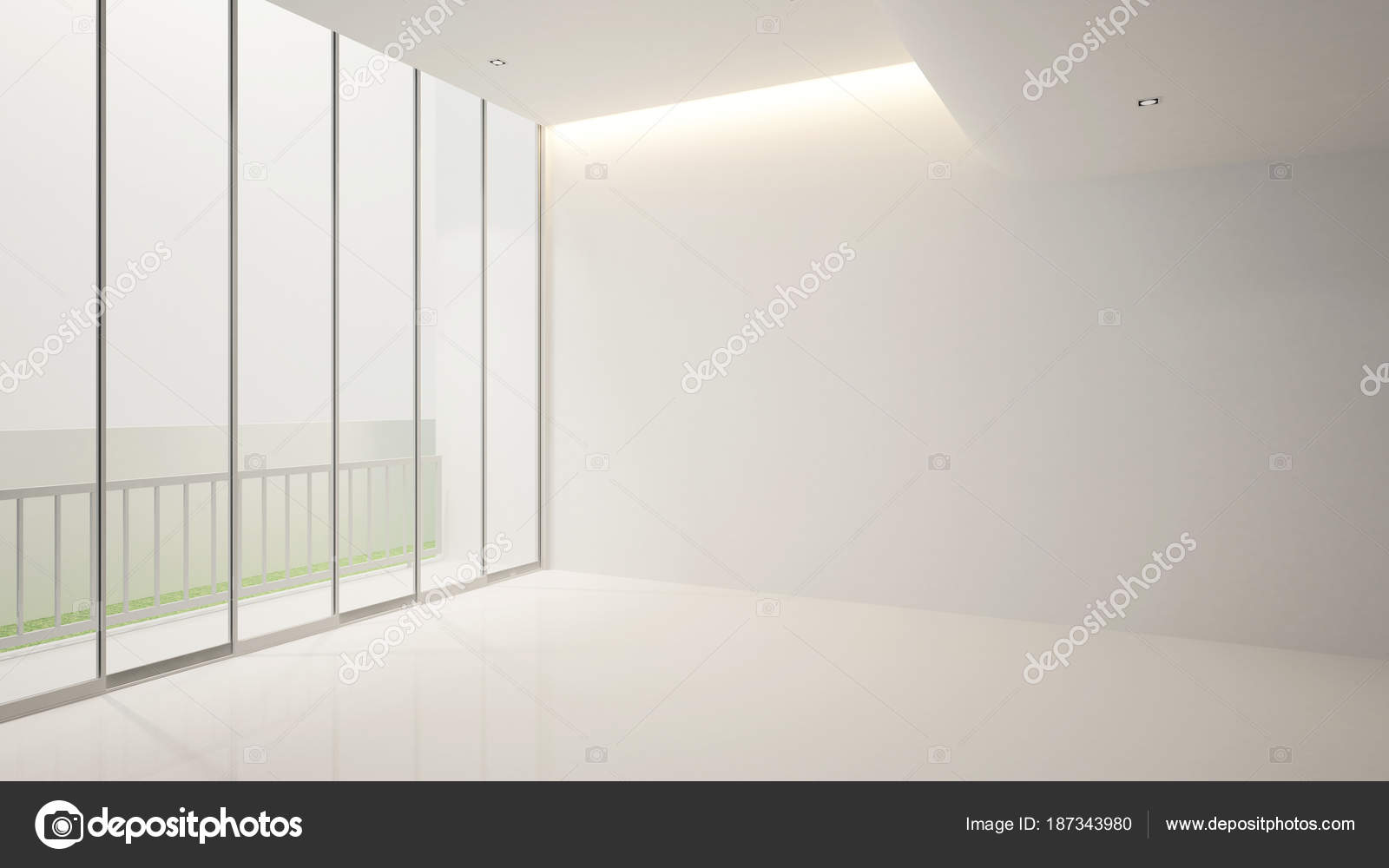 Simpel Balkon Ontwerp : Witte lege kamer en balkon voor artwork interieur design 3d