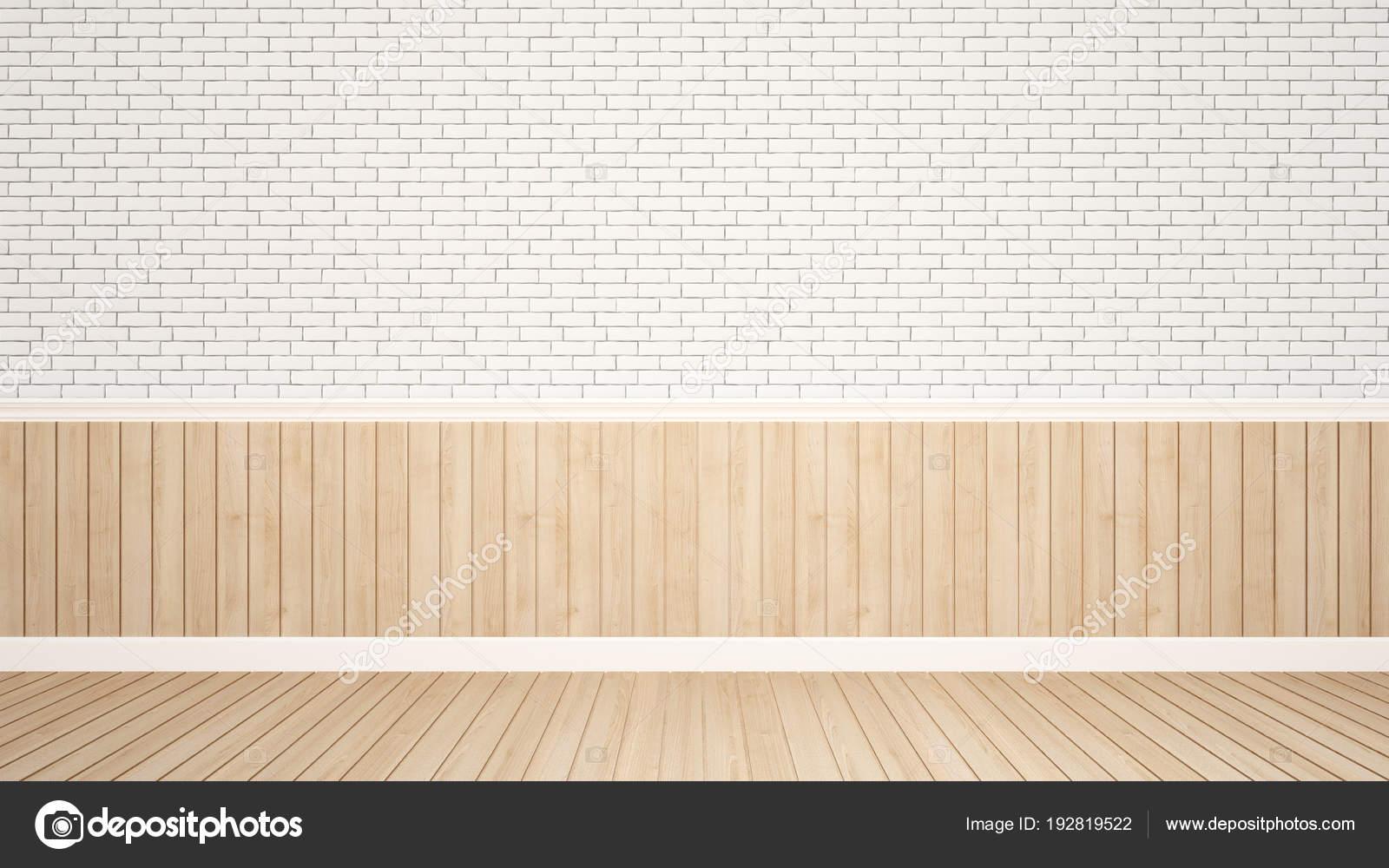 Backstein Und Holz Wand Schmücken In Leeren Raum Für Kunst