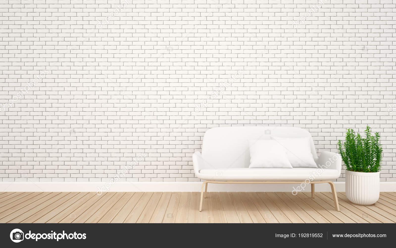 Wohnzimmer Ziegel Dekoration In Wohnung Oder Hotel   Interior Design   3d  Rendering U2014 Stockfoto