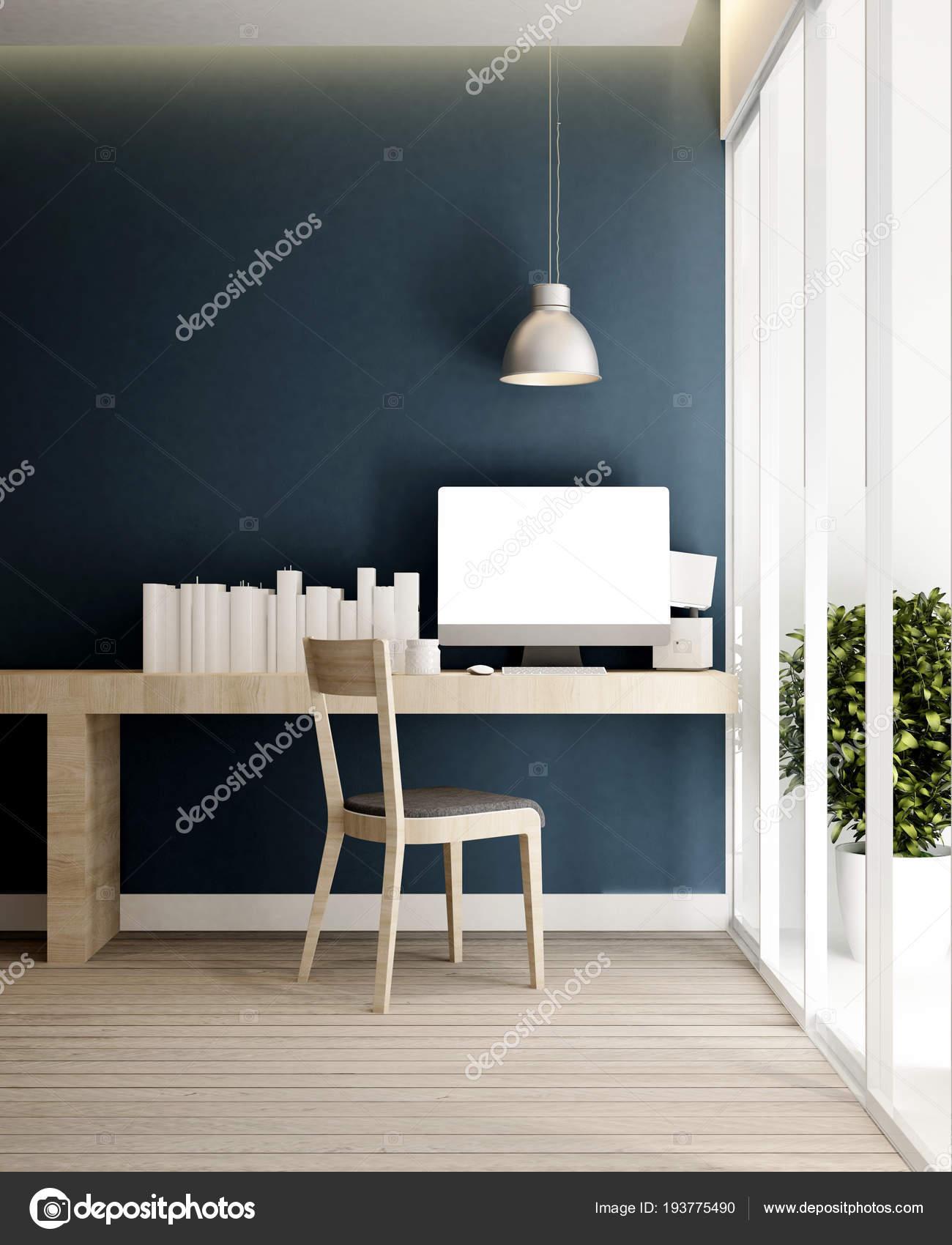 werkplek en blauw grijs muur in huis of appartement interieur design voor illustraties in 3d
