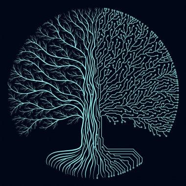 Hi-tech circuit style round yggdrasil tree. Cyberpunk futuristic design. Progress symbol