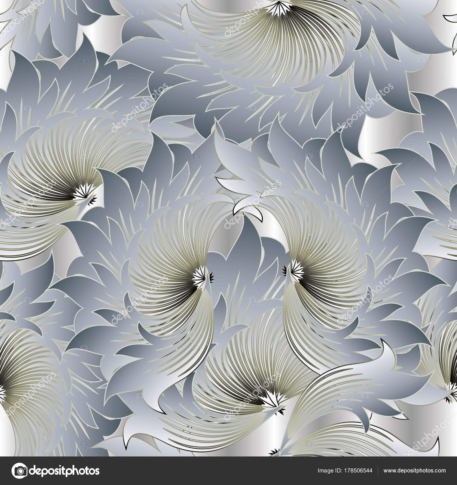 Floral Modern Vector Seamless Pattern Light Grey Monochrome