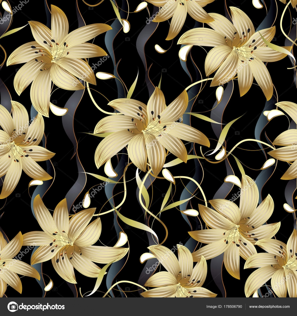 Gold 3d Flowers Vector Seamless Pattern Black Floral Vintage Background Wallpaper With Vertical Waves Stripes Golden Blossom White Paisley