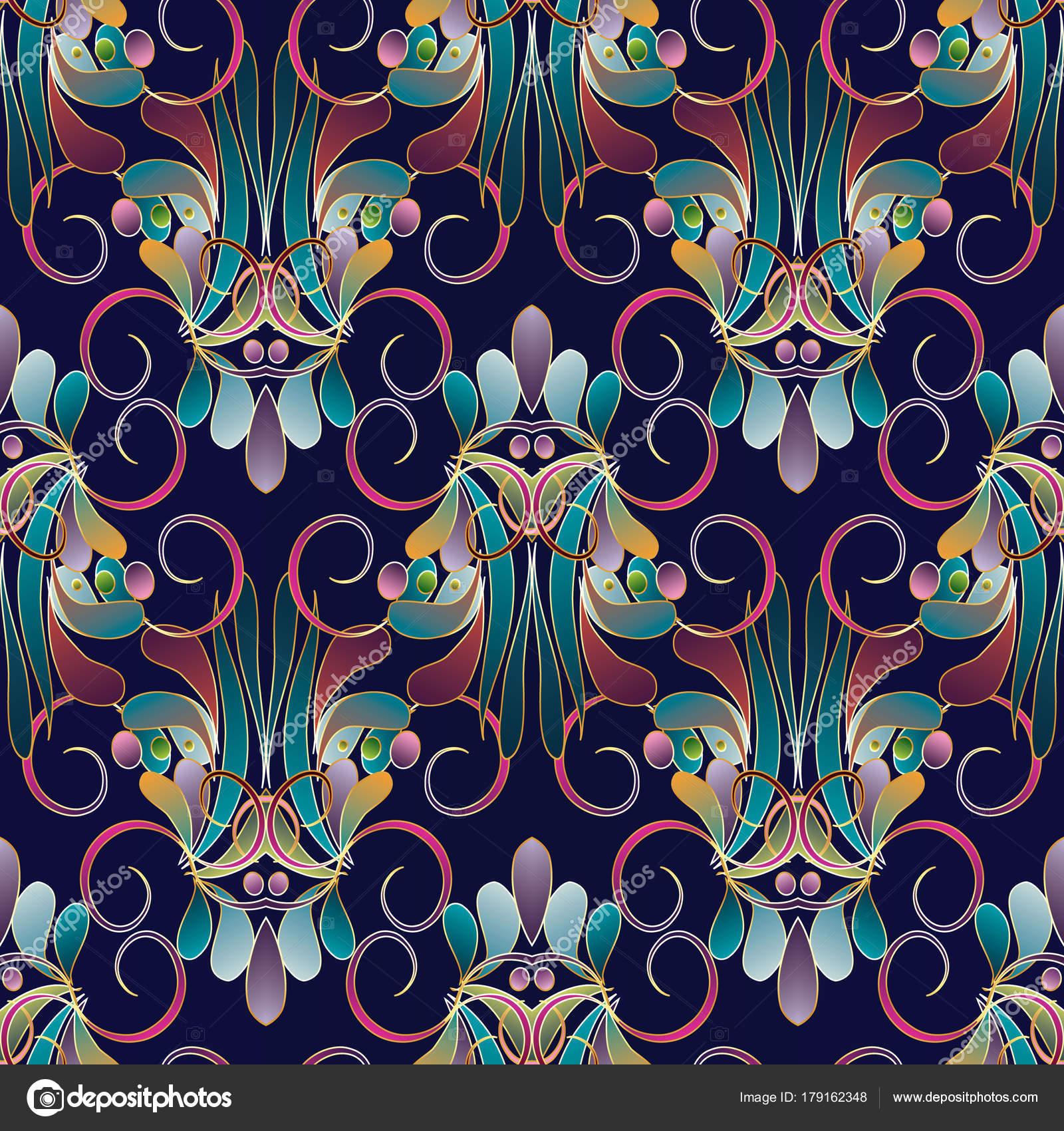 Vintage květinový barevný vzor bezešvé. Tmavě modrá Damašek — Stockový  vektor 1ab794a829