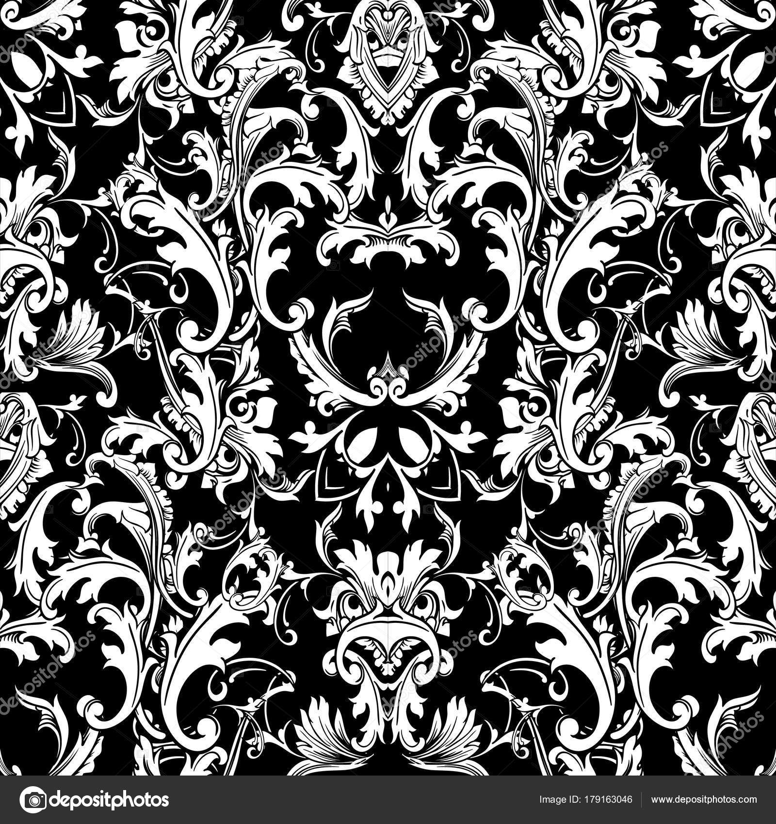 Baroque Black White Seamless Patternvector Floral Background