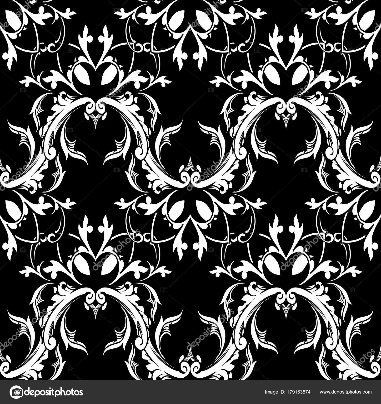 Damasse Motif Floral Sans Soudure Baroque Fond Noir Blanc Image