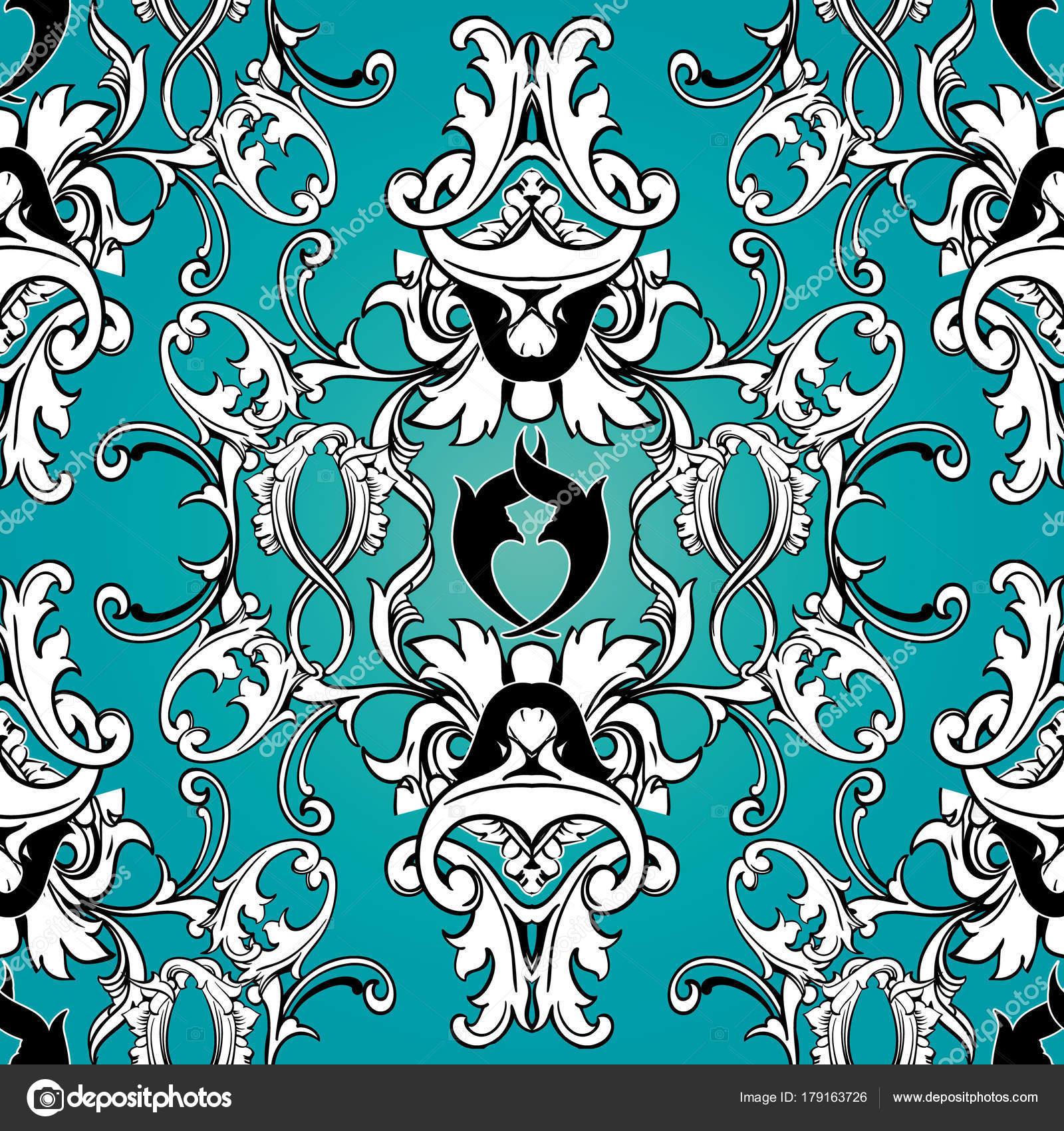 6e1e31c7dd88 Padrão sem emenda floral do Damasco. Papel de parede plano de fundo azul  claro com preto branco pergaminho redemoinho de folhas, flores de Damasco e  ...