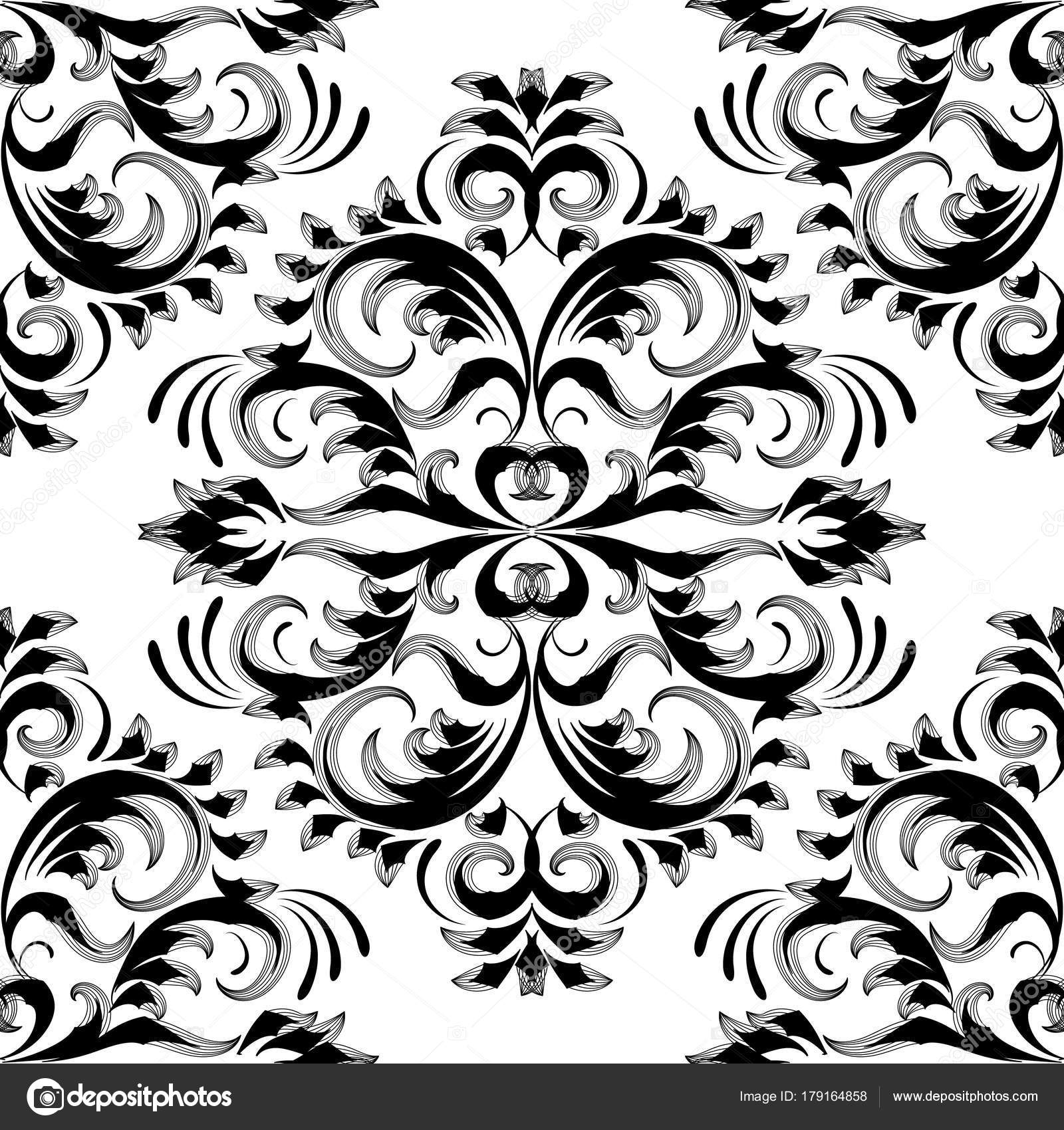 Vintage Floral Damask Seamless Pattern Black White Vector Stock