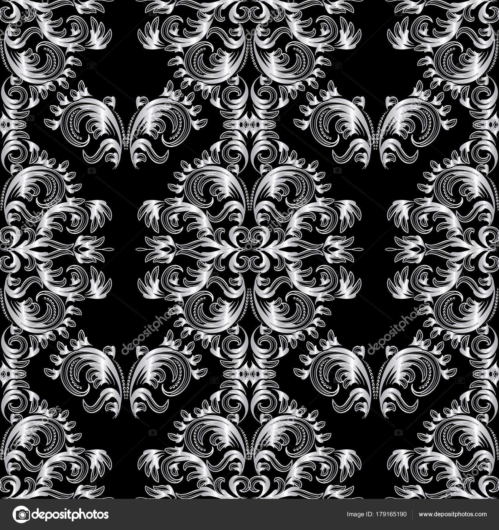 Vintage floral patrón transparente barroco — Vector de stock ...