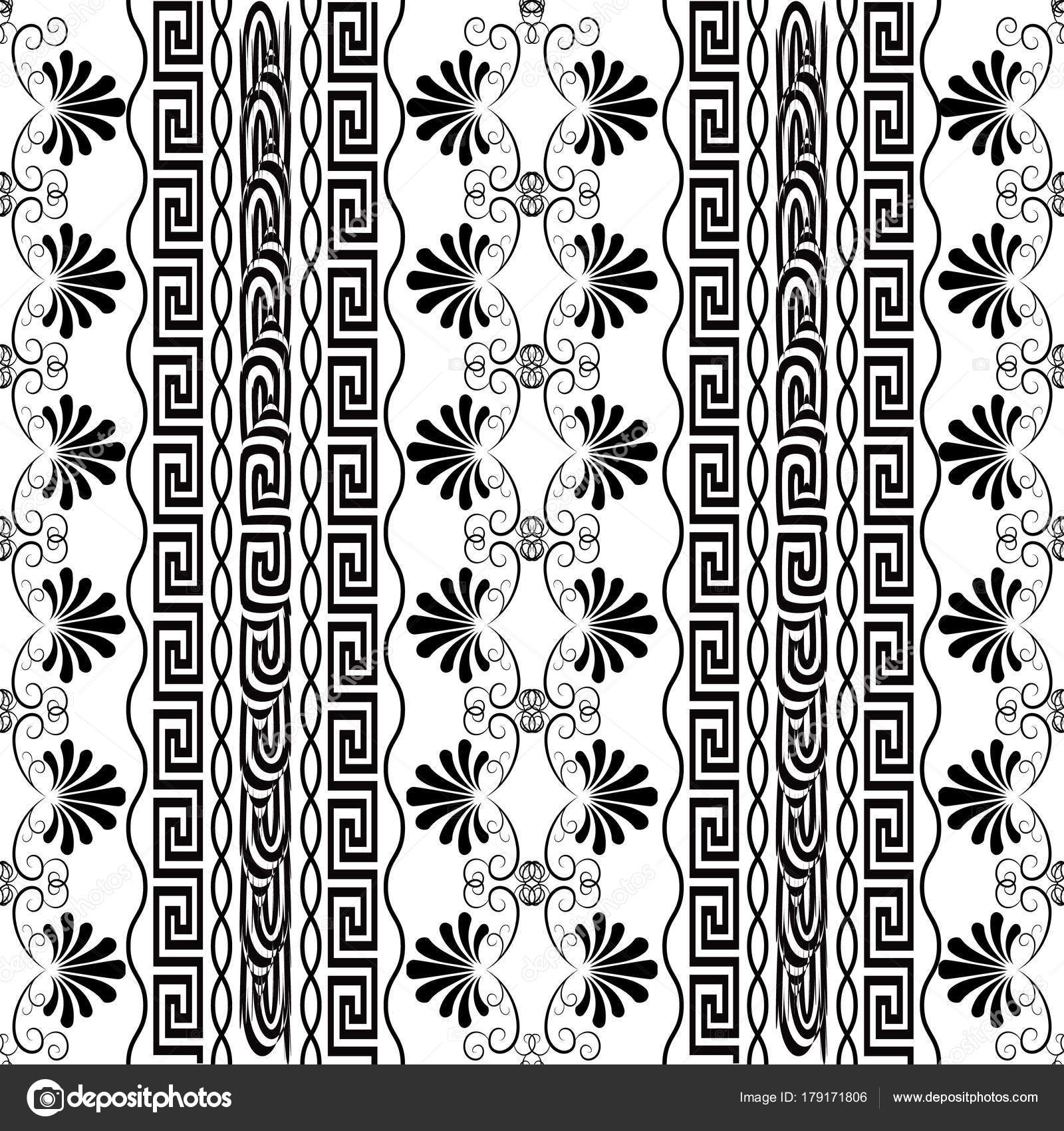 Striped Floral Seamless Border Pattern Isolated Design