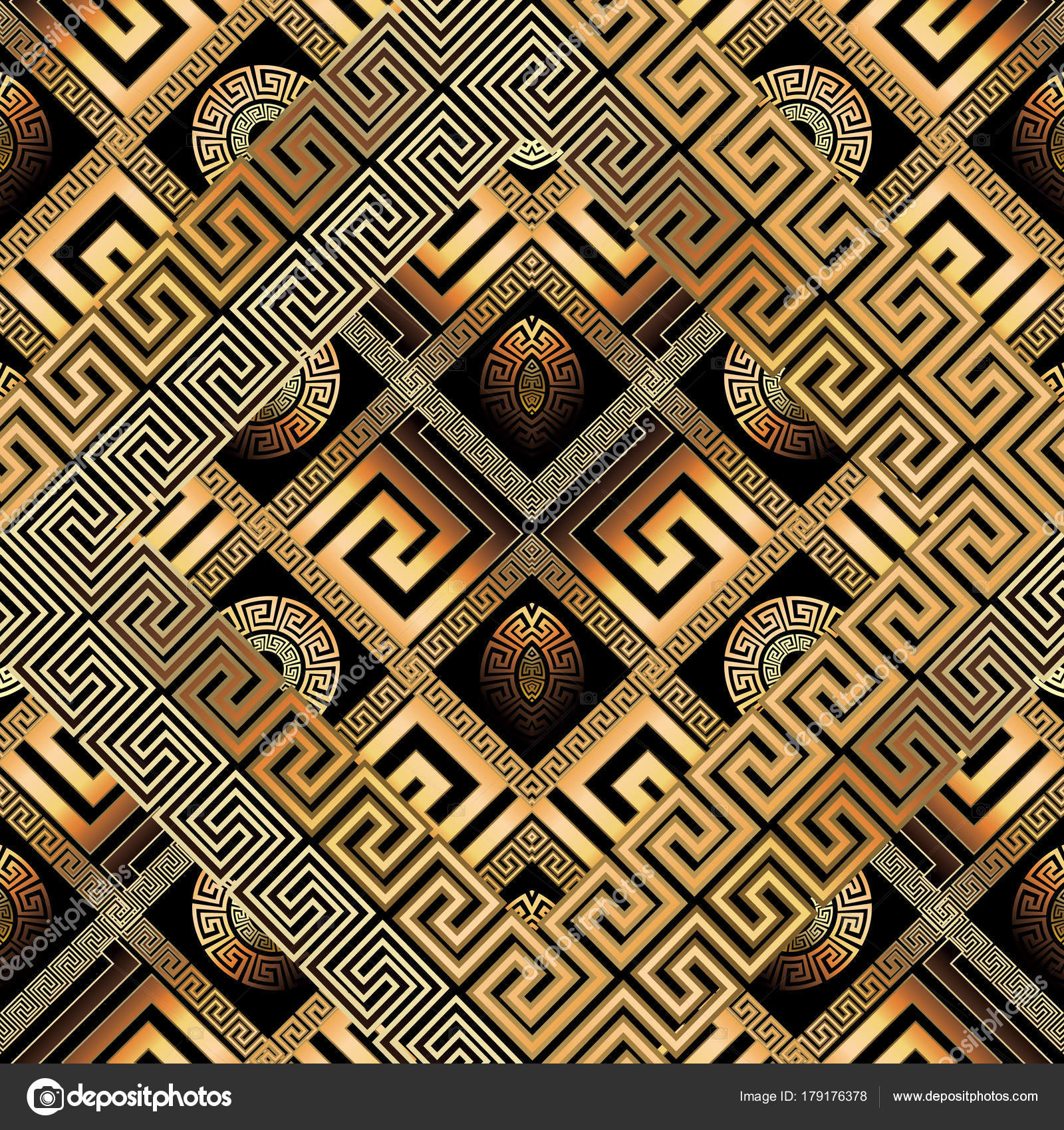 eb3bc600af3 Abstract black gold greek key background. 3d wallpaper. Geometric trendy  ornament