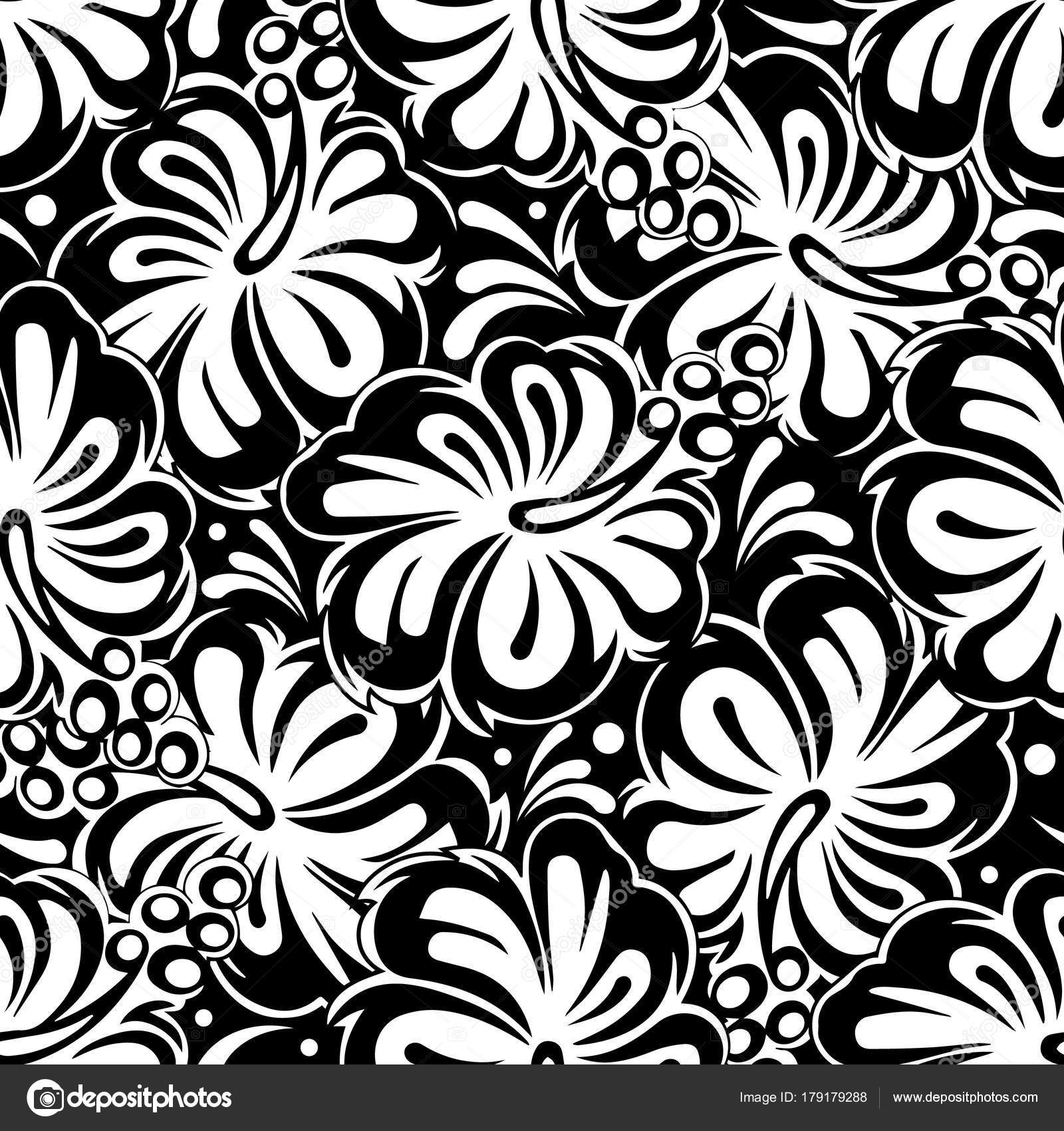 Floral Black And White Seamless Pattern Vector Isolated