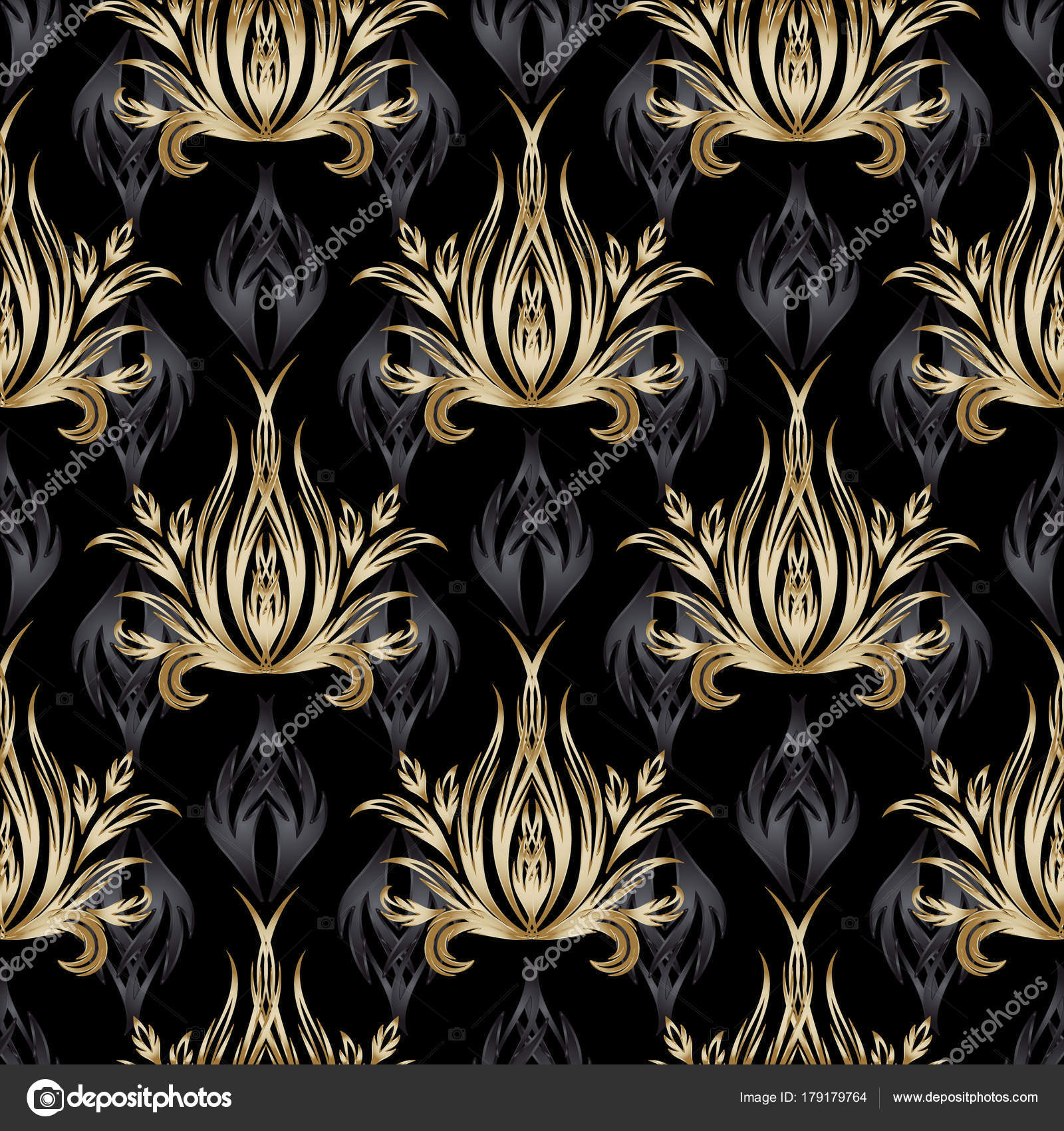 depositphotos 179179764 stock illustration damask vector seamless pattern gold - Barock Tapete Schwarz Gold