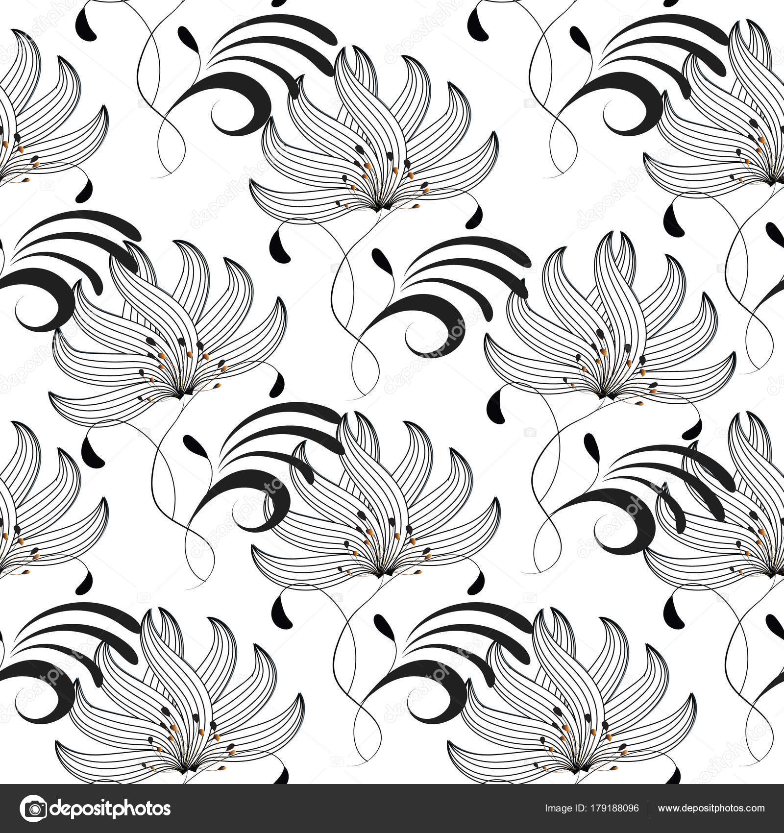 Floral Seamless Pattern Black White Isolated Vector Texture