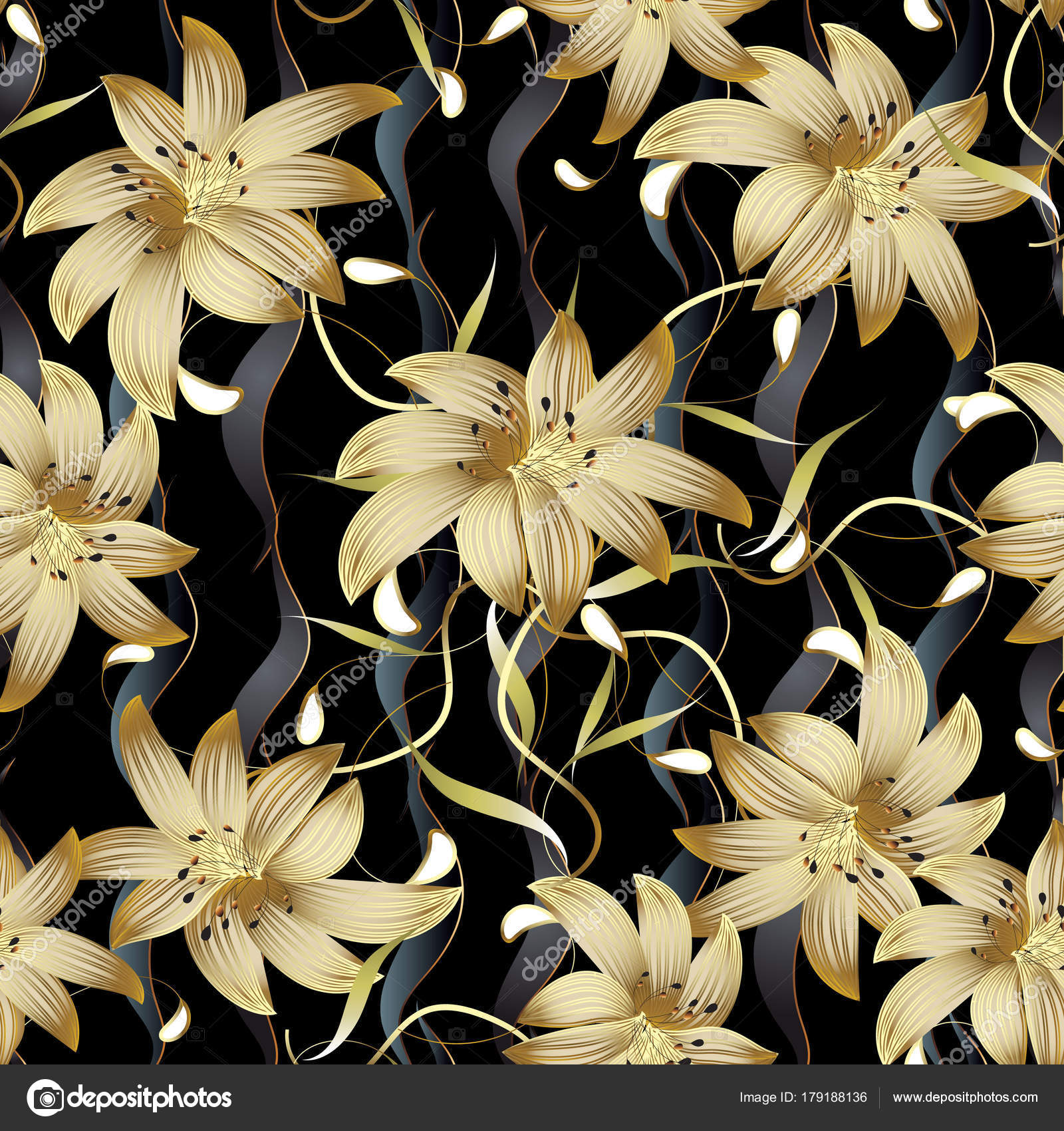 3d gold floral seamless pattern. 3d flowers pattern — Stock Vector ...