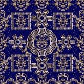 Fotografia Modello senza cuciture floreale di vettore barocco. Meandro greco chiave