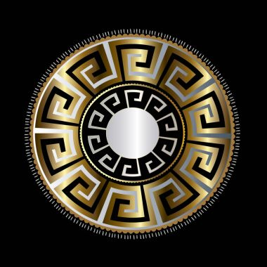 Ancient round decorative ornament. Vector meander pattern