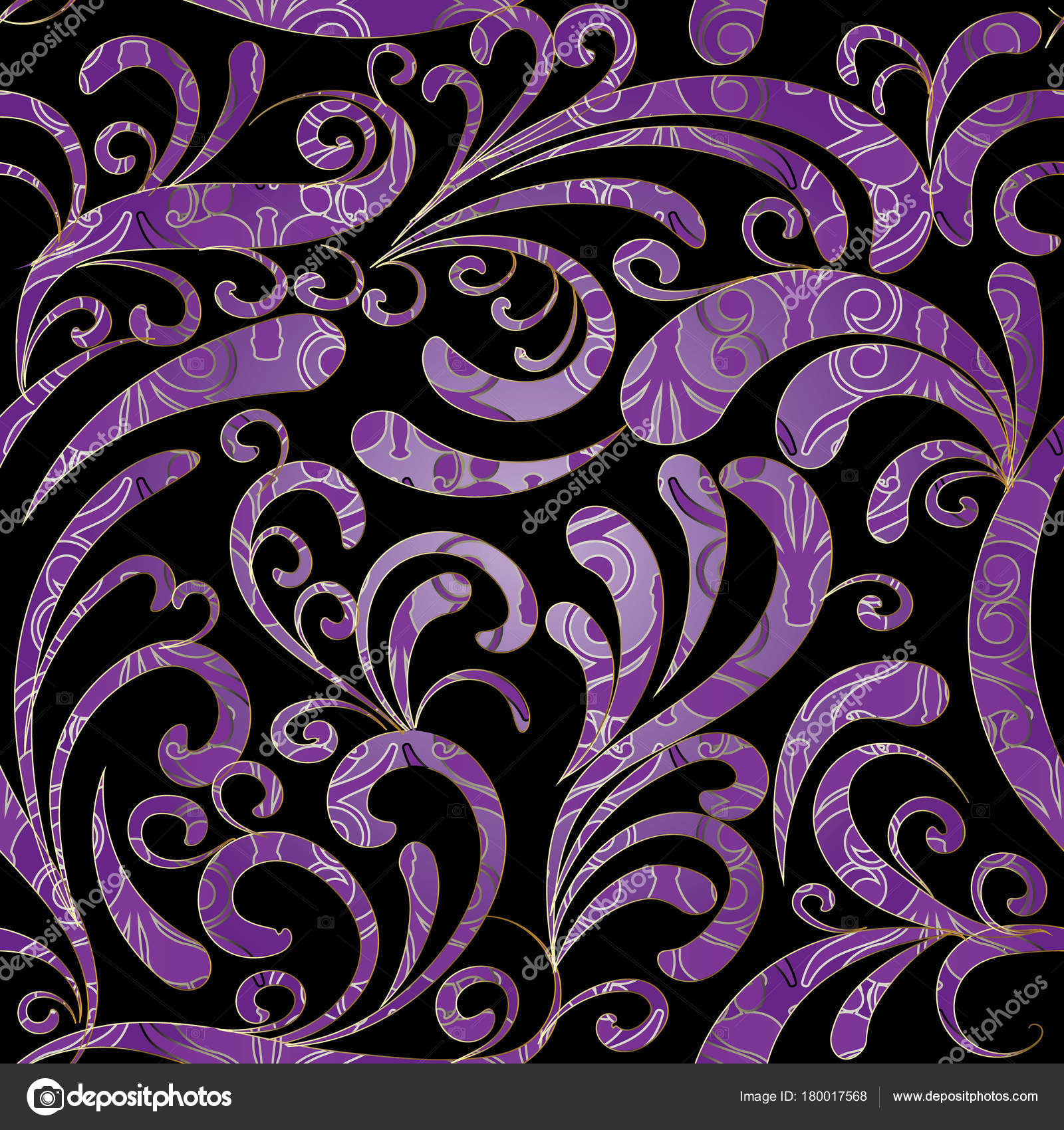 Paisley Seamless Pattern Black Violet Floral Background Stock