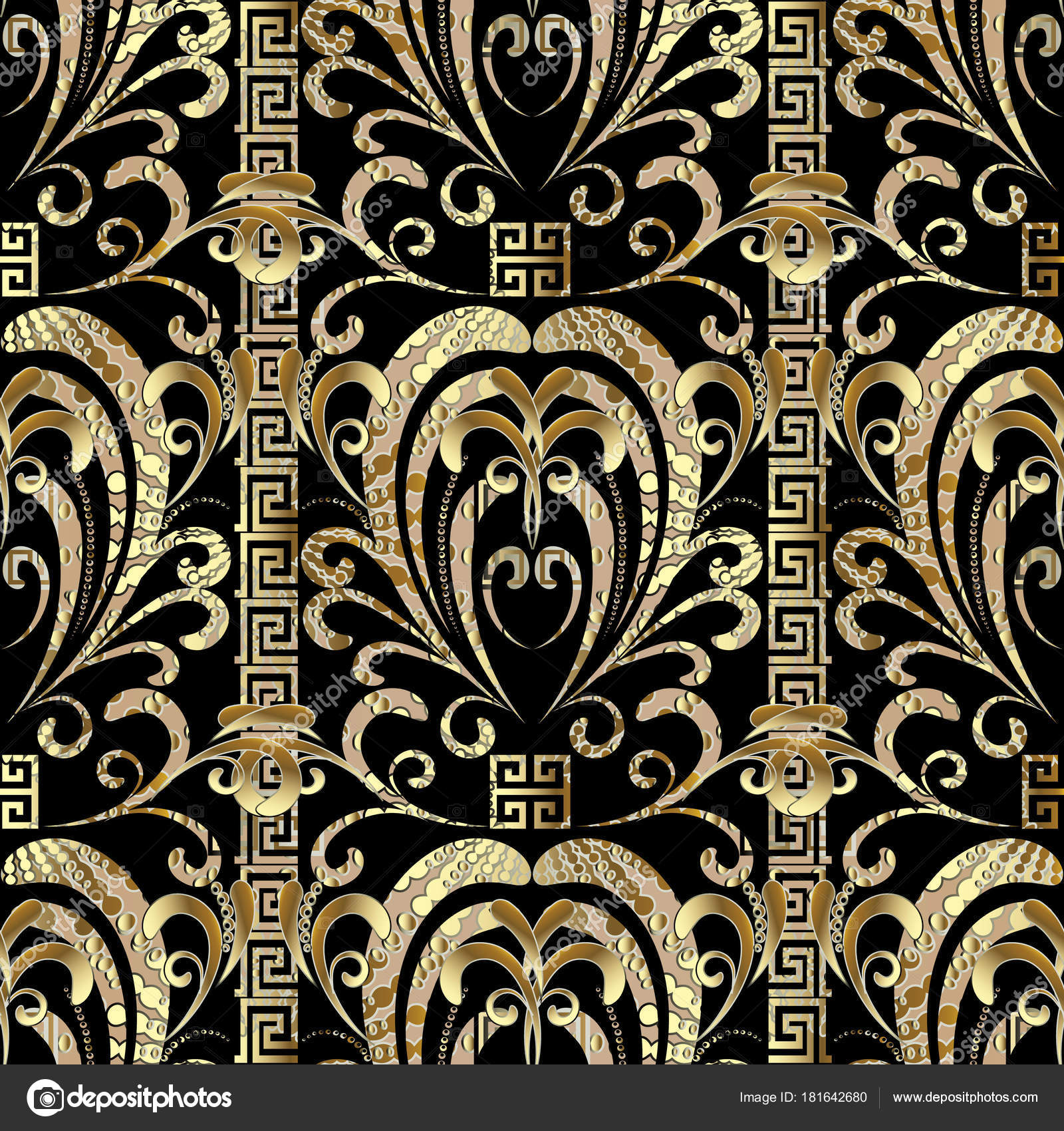 Floral Gold 3d Seamless Pattern Vector Greece Background Stock