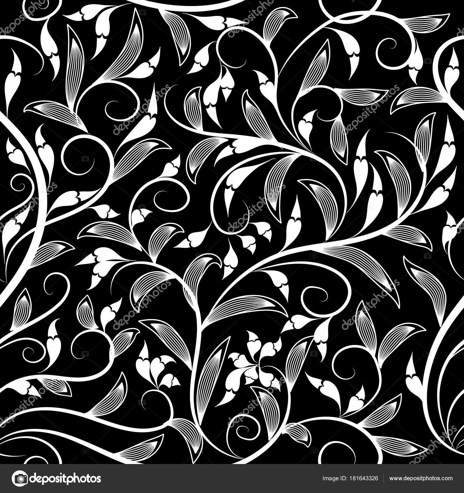 Floral Vector Seamless Pattern Vintage Leafy Black And White Stock