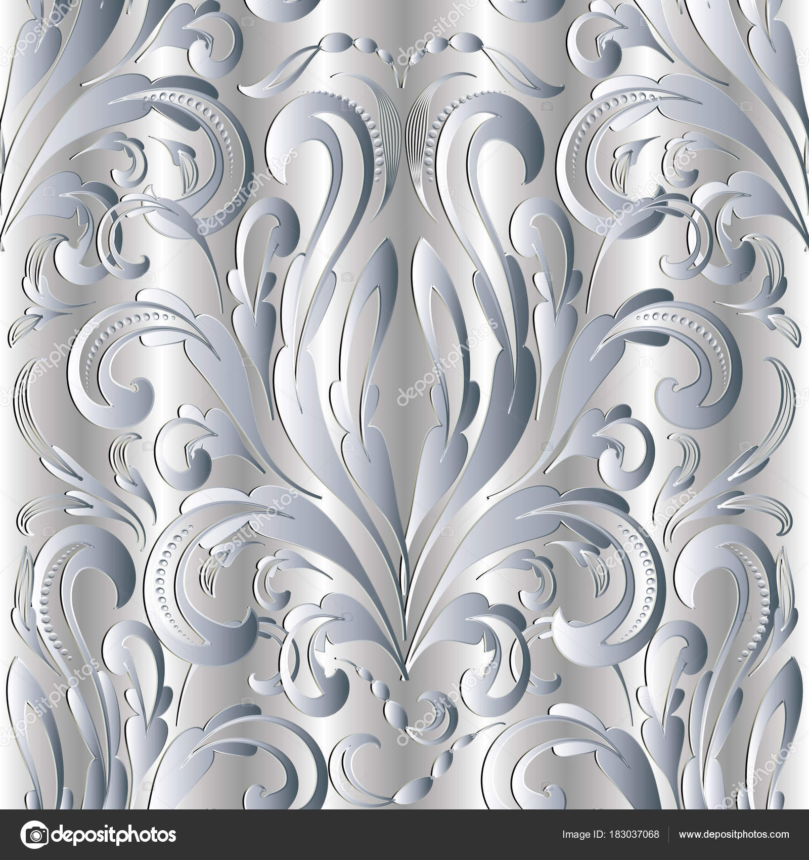 damask baroque silver 3d seamless pattern vector drapery light floral background with hand drawn white flowers swirls dots curves baroque style