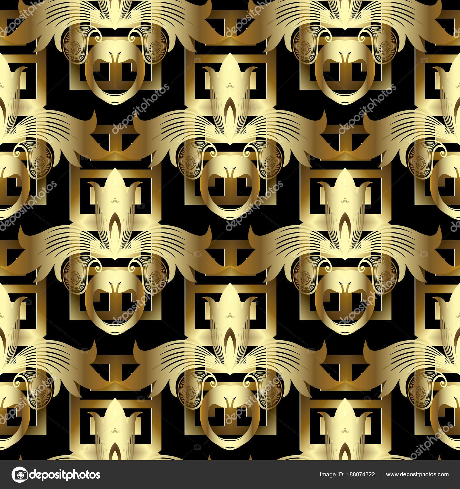 3d gold floral greek key seamless pattern  Vintage vector — Stock
