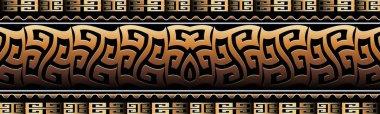 Greek key 3d border. Meander seamless pattern. Geometric vector