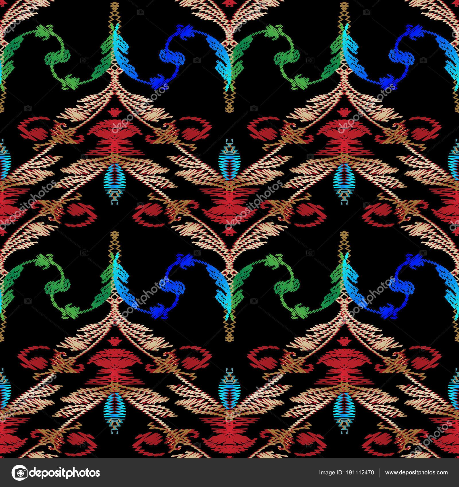 Bordado barroco de patrones sin fisuras. Damasco vector floral ...