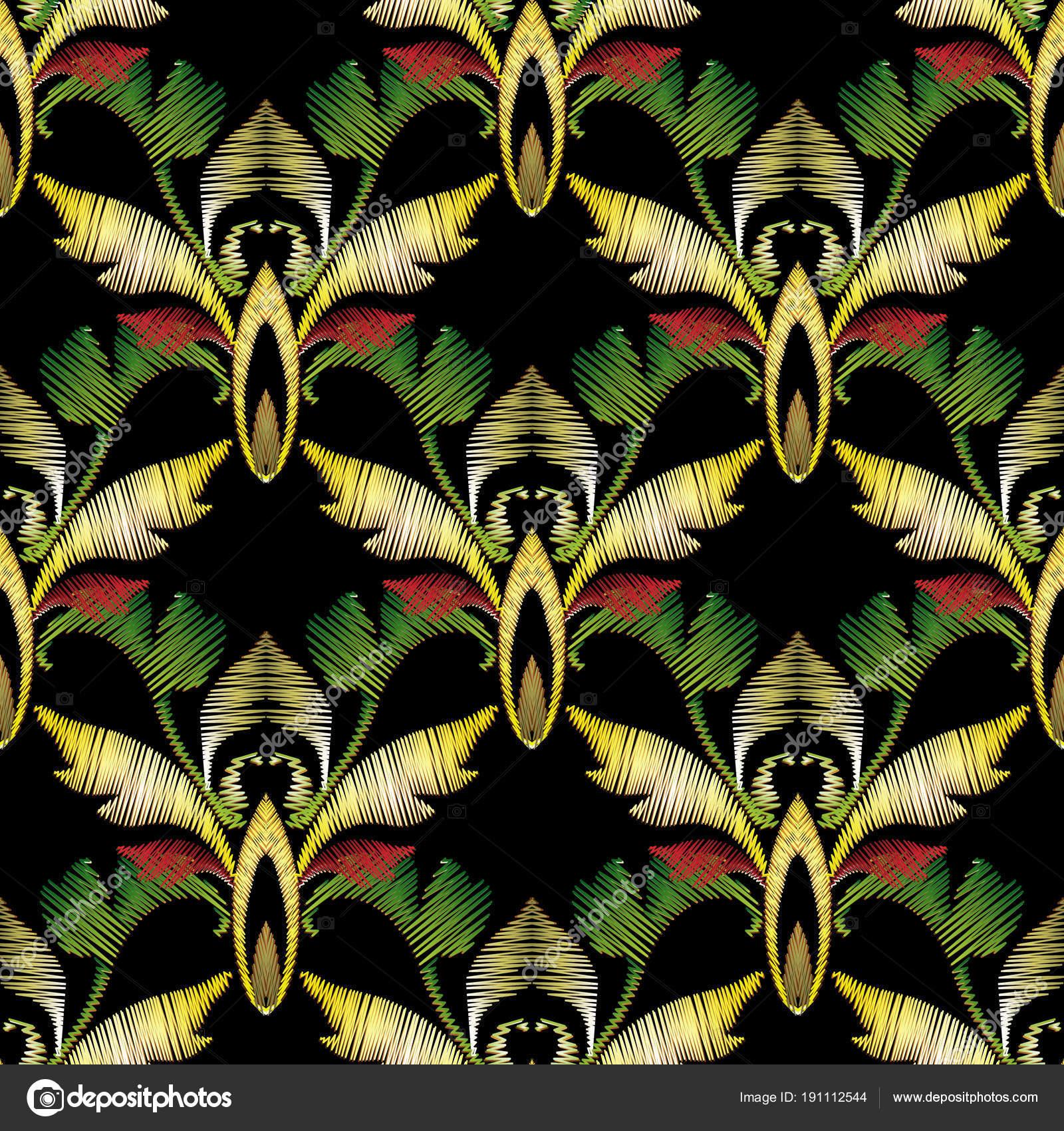 Bordado barroco vector 3d de patrones sin fisuras. Antiguo tapiz ...
