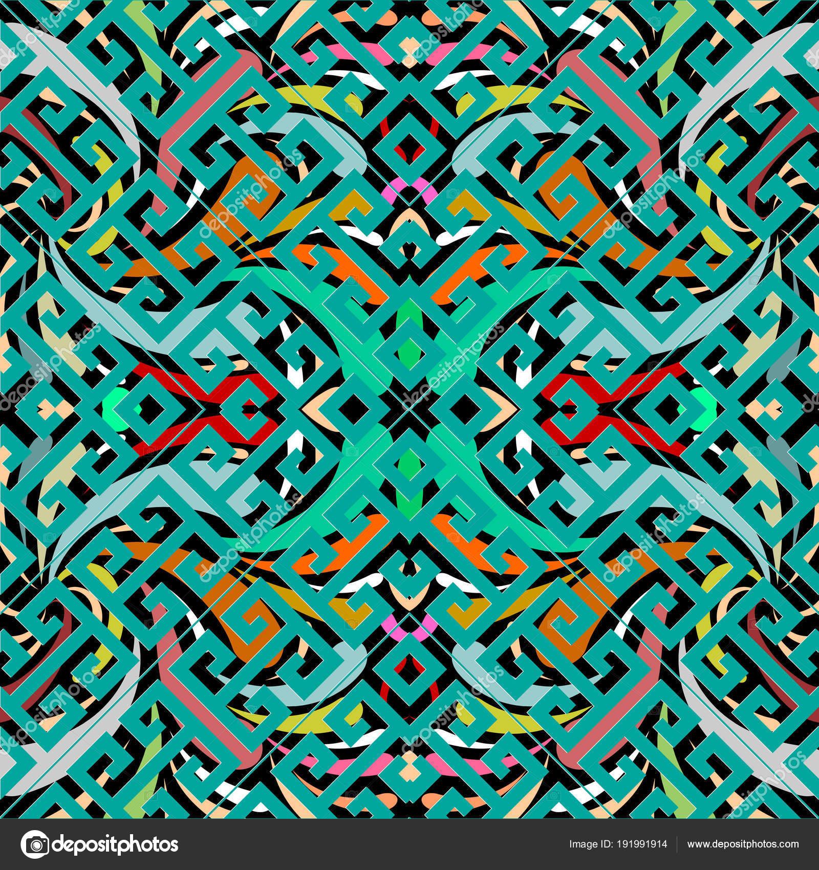 Abstrato De Vetor Turquesa Brilhante Padrao Moderno Da Tela Papel Parede Vintage Grega Meandro Chave Ornamento Geometrico Com Formas Em Azulejo