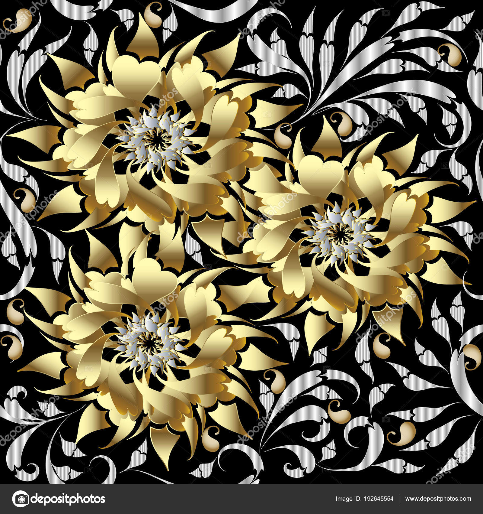 Gold 3d flowers seamless pattern ...