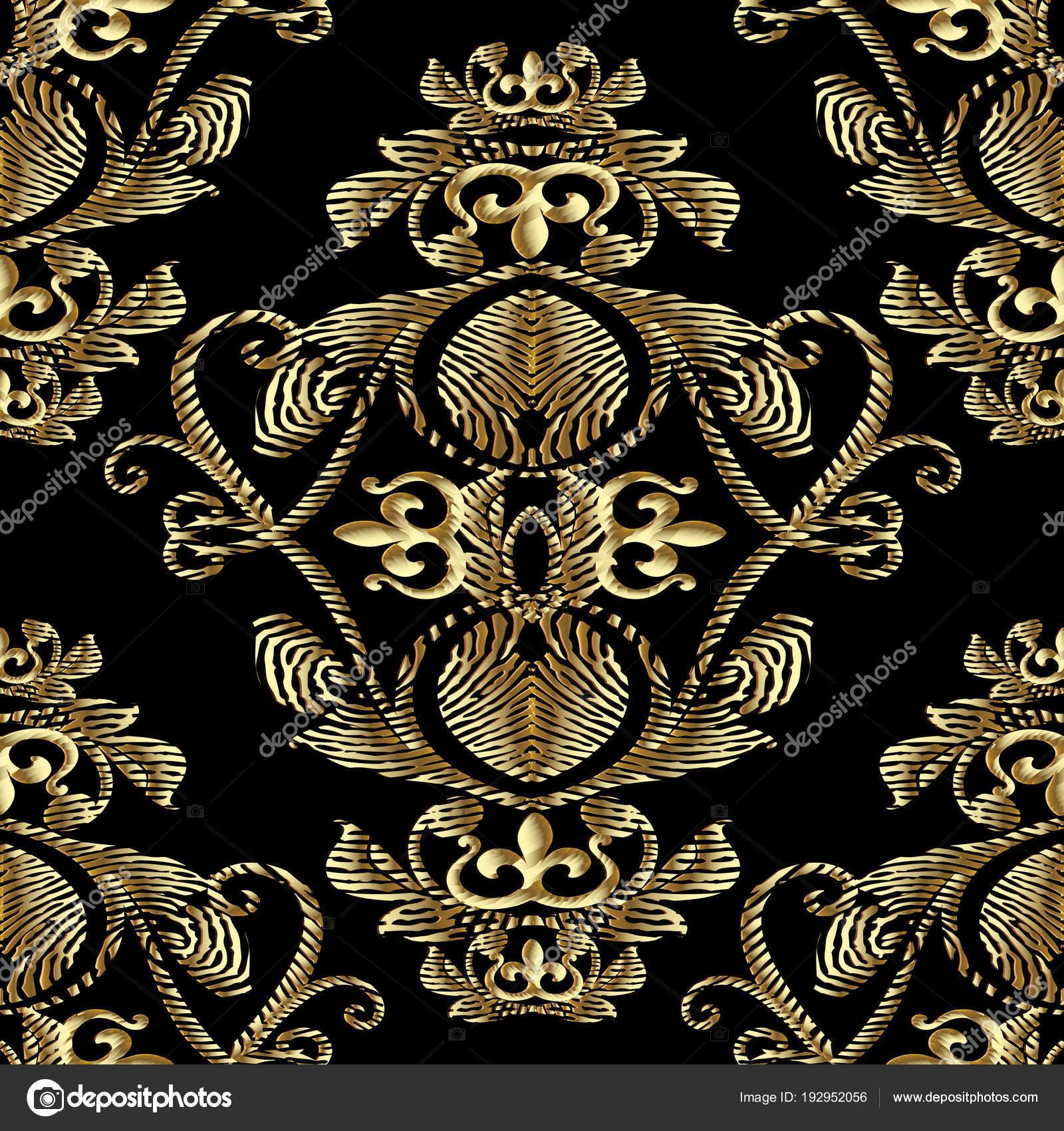 6742c5374e Barokk arany hímzés 3d varrat nélküli mintát. Vector háttér mintás szőnyeg.  Vintage line art áttört embroidred antik királyi díszek, virágok, ...