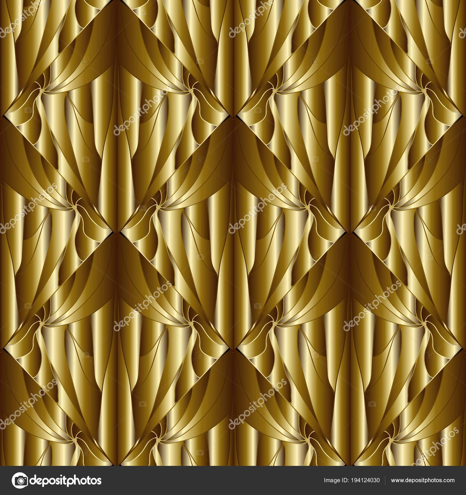 Gold 3d Wallpaper Geometric Abstract Gold 3d Seamless