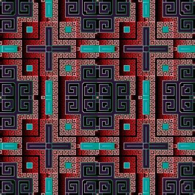 3d geometric greek vector seamless pattern. Surface ornamental a